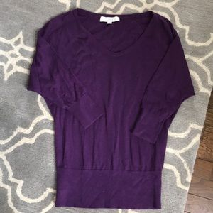 Size small LOFT purple 3/4 sleeve sweater